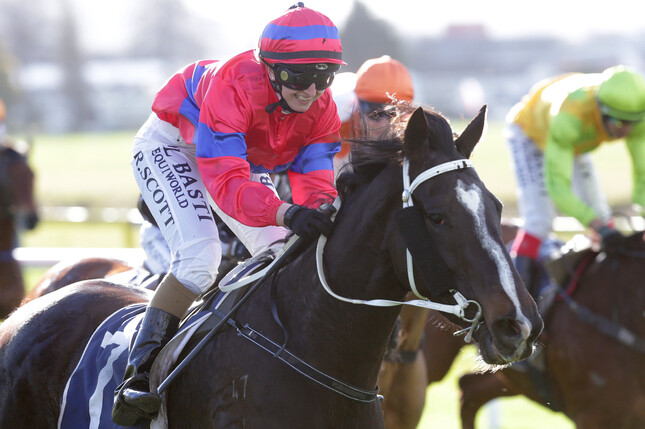 Rebecca Scott was all smiles after winning the Taumarunui Gold Cup (2200m) aboard Verry Flash on Saturday - Trish Dunell